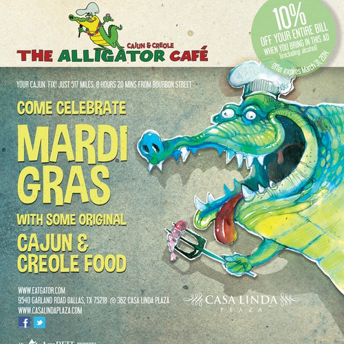 Create a Mardi Gras ad for The Alligator Cafe Design by Evilltimm