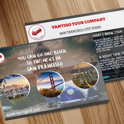 Design a info postcard for san francisco vw tour bus Design companies in san francisco