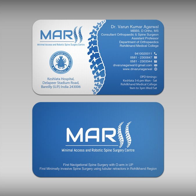 Design a visiting card for spine surgeon business card contest visiting card for spine surgeon winning design by cortana10 colourmoves