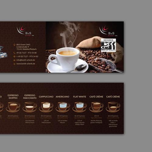 Werbeflyer udn Übersicht Kaffeespezisalitäten Diseño de Unlike Studio