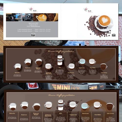 Werbeflyer udn Übersicht Kaffeespezisalitäten Diseño de Flux79