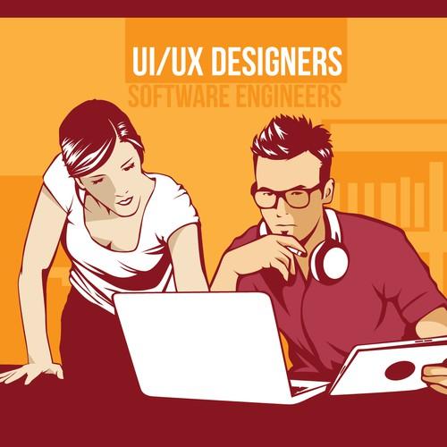 ISO: simple propaganda style vector illustration for new start up! Diseño de YukioWatanabe