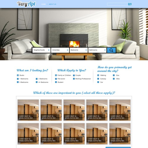 Design a winning on boarding user experience for veryapt for Apartment design your destiny winner