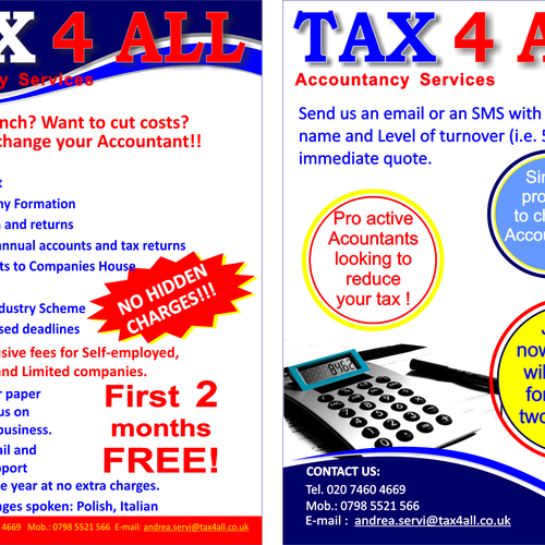 Create the next print or packaging design for Tax 4 All Ltd