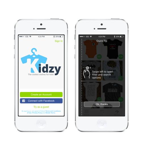 Mobile app kidzy 2 simple screens logo app design contest for Easy app design