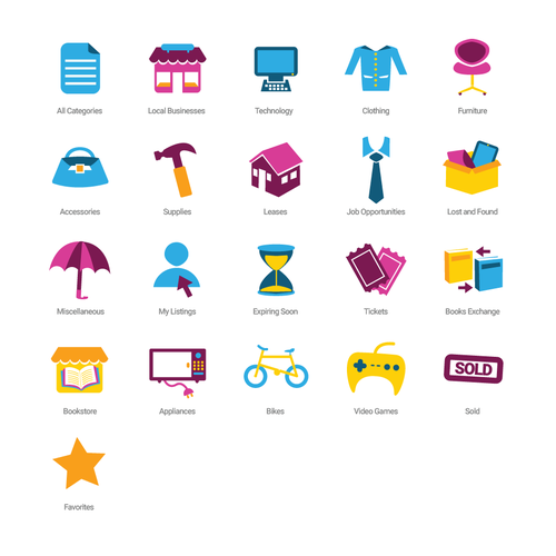 Create Category Icons For Marketplace App Icon Or Button Contest