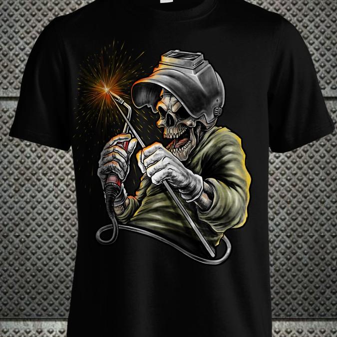 Welders Shirt Design With Skull Grinning And Welders Helmet T