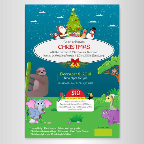 Eye Catching Christmas Event Poster For An Animal Sanctuary Poster
