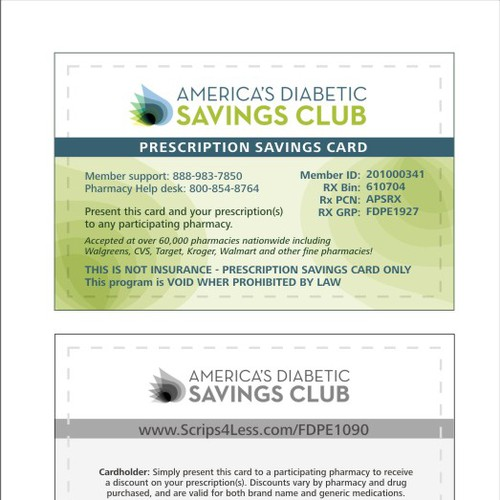 card or invitation for America's Diabetic Savings Club
