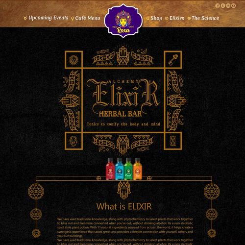 Roxa Acai and herbal elixir bar | Web page design contest