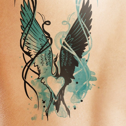 Husband + wife crane tattoo design Design by Klasikohero