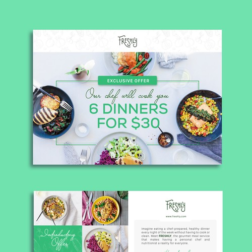 Create a clear and captivating promotional insert for Freshly, a healthy food service Design by phongling