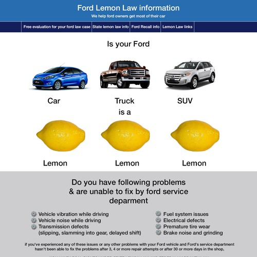 Lemon Law Website Needs Strong Landing Page