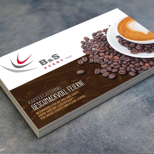 Werbeflyer udn Übersicht Kaffeespezisalitäten Diseño de ›  esportable  ‹