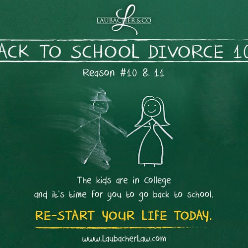 Back to School Divorce - Funny Slogans, images and graphics for adverts. Design by tale026