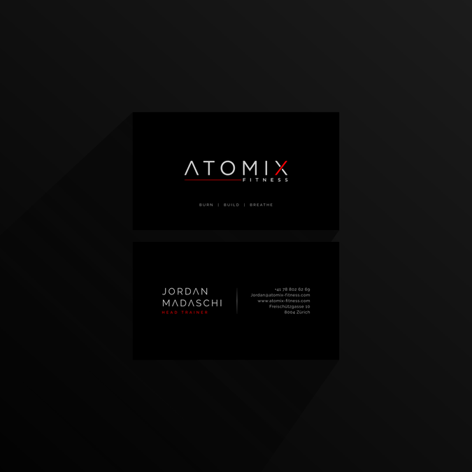 Atomix Fitness Visitenkarten Business Card Contest