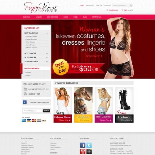 Website Design For Ecommerce Business Retailer Of Women S Halloween Costumes Dresses Lingerie And Shoes Web Page Design Contest 99designs
