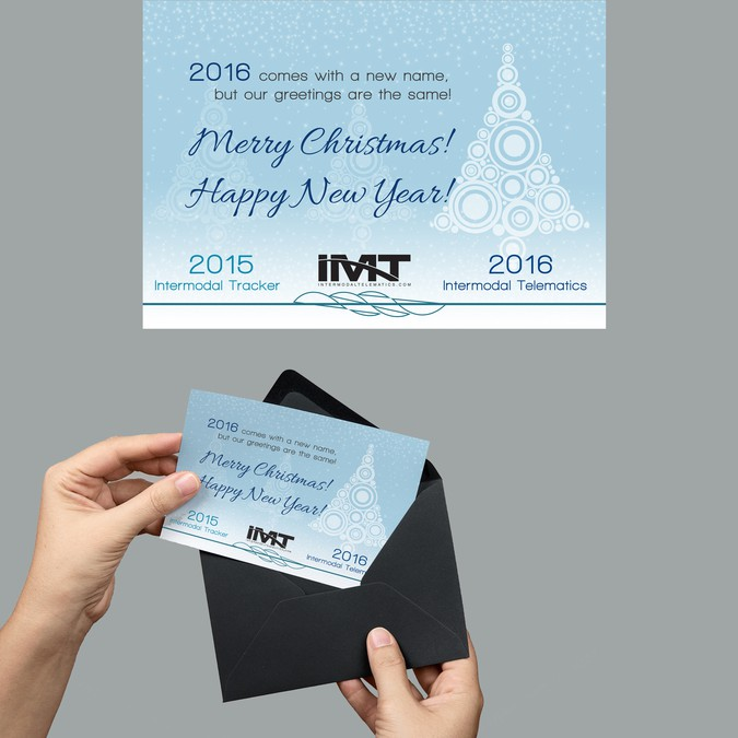 christmas new year card for changing company name