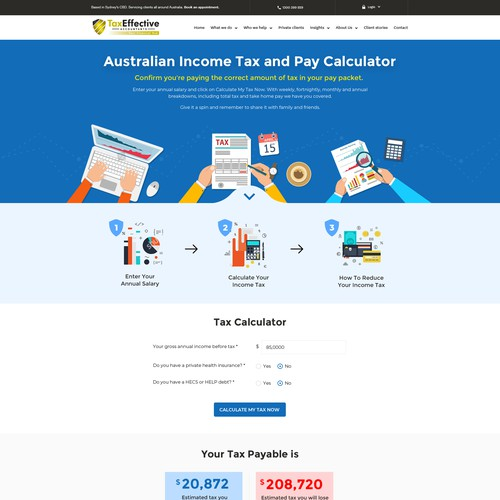 Design a modern, hip and easy to use tax calculator webpage