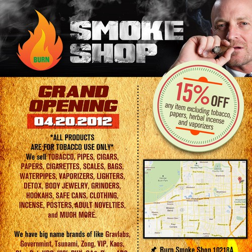 Create the next 1/4 page postcard or flyer for Burn Smoke