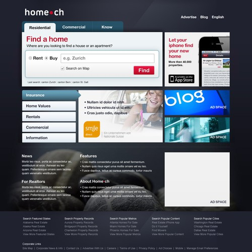 Extended design for homepage home.ch needs a new website