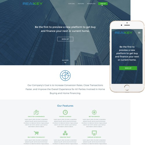 Design a Fresh and Responsive Landing Page for New Home Buying and on mobile payments companies, mobile wallet companies, retail companies, mobile detailing companies, log home companies,