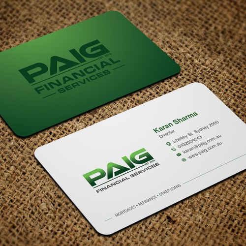 Paig financial services business card business card contest runner up design by artomorosigns colourmoves