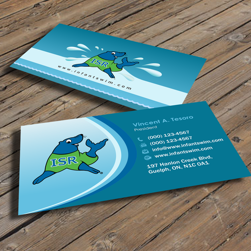 Infant swimming resource business card contest runner up design by vincent tesoro reheart Images