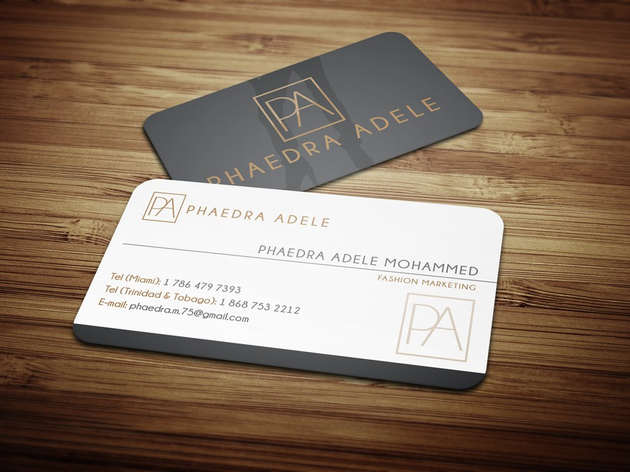 Create an innovative business card illustrating Fashion Marketing ...