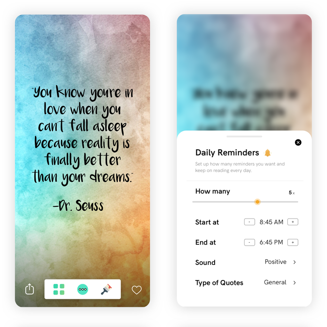 design refresh for motivational quotes app millions of users