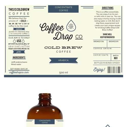 Packaging label required for Coffee Drop Co. a cold brew coffee ...