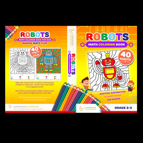 Robots math coloring book for kids: Book cover needed ...